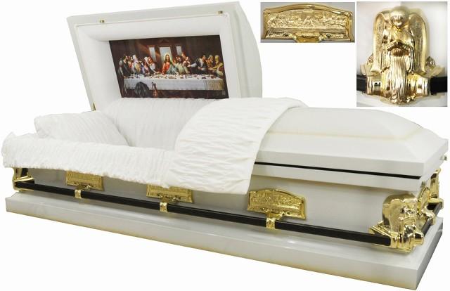 Last Supper Casket Angel Casket White W Gold Accent 18ga